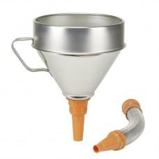 Воронка из белой жести с гибкой трубкой для химически активных сред Ø 200 мм, емкость 3,2 л, гибкий слив из металла