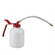 Масленка 500 мл, ПЭ, белая насос, прозрачная гибкая трубка