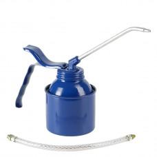 Масленка, 250 мл, сталь, синяя, латунный насос. С трубкой и шлангом