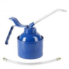 Масленка, 350 мл, сталь, синяя, латунный насос. С трубкой и шлангом