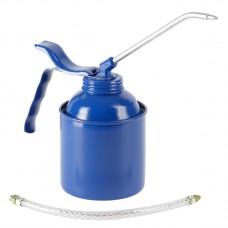 Масленка 500 мл, сталь, синяя, насос из латуни, шланг и трубка