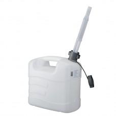 Канистра для воды, 10 л, белая, полиэтилен, с гибким сливом