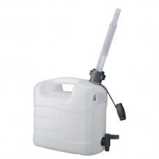 Канистра для воды, 10 л, белая, полиэтилен, с краном и гибким сливом