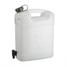 Канистра для воды, 15 л, белая, полиэтилен, с краном