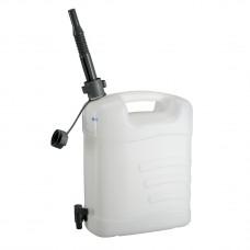 Канистра для воды, 15 л, белая, полиэтилен, с краном и гибким сливом