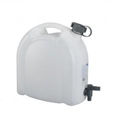 Канистра для воды, 10 л, белая, полиэтилен, с краном — плоская
