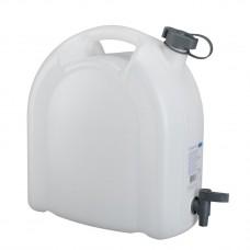 Канистра для воды, 15 л, белая, полиэтилен, с краном -плоская