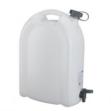 Канистра для воды, 20 л, белая, полиэтилен, с краном -плоская