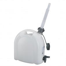 Канистра для воды, 10 л, белая, полиэтилен, с краном  и сливом — плоская