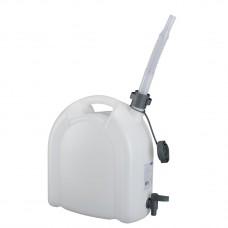 Канистра для воды, 15 л, белая, полиэтилен, с краном и сливом  -плоская