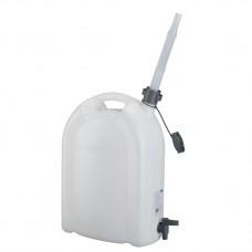 Канистра для воды, 20 л, белая, полиэтилен, с краном и сливом -плоская