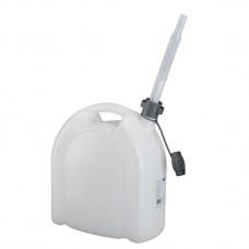 Канистра для воды, 15 л, белая, полиэтилен, со сливом  -плоская