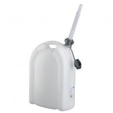 Канистра для воды, 20 л, белая, полиэтилен, со сливом -плоская